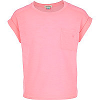 Girls pastel pink rolled sleeve t-shirt