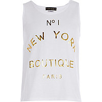 Girls white No.1 New York boutique tank top
