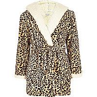 Girls brown leopard print dressing gown