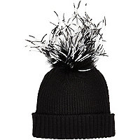 Girls black maribou feather beanie