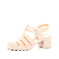 Girls beige jelly block heel sandals