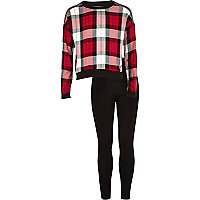 Girls red check sweatshirt and leggings