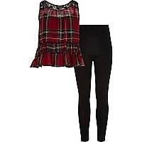 Girls red check peplum top and leggings set