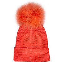 Girls coral fluffy pom beanie hat