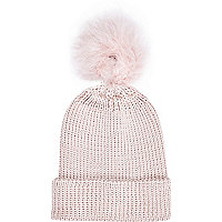 Girls pink fluffy pom beanie hat
