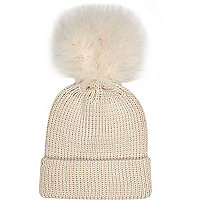 Girls cream fluffy pom beanie hat