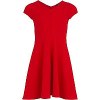 Girls red crepe fit and flare dress