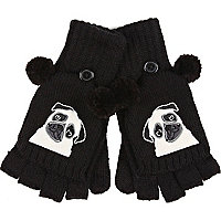 Girls black pom pom pug gloves
