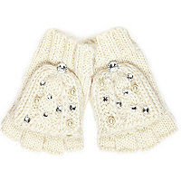 Girls cream gem gloves