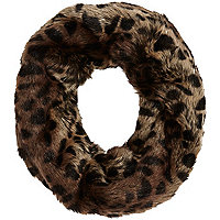 Girls brown leopard fur funnel snood