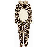 Girls brown leopard print onesie