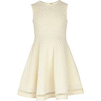 Girls cream knit look skater dress