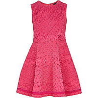 Girls pink knit look skater dress