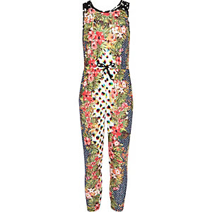 Girls white floral polka dot print jumpsuit