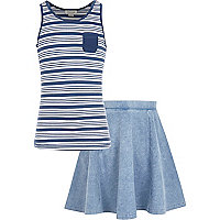Girls blue stripe vest and denim skirt set