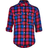 Girls blue and red check shirt