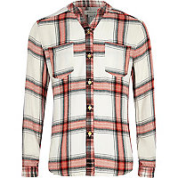 Girls white check grandad collar shirt