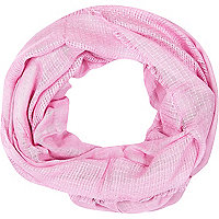 Girls pink ladder stitch scarf
