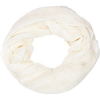 Girls cream ladder stitch scarf