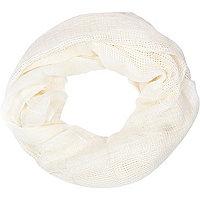 Girls cream ladder stitch scarf