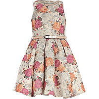 Girls cream floral tapestry prom dress