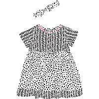 Mini girls black mix spot print dress