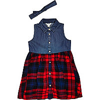 Mini girls red check hybrid dress