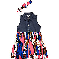 Mini girls denim geometric hybrid dress