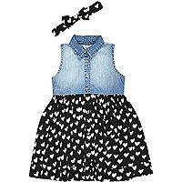 Mini girls denim heart print hybrid dress