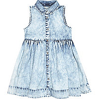 Mini girls denim medium acid wash dress