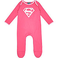 Mini girls pink superbaby sleepsuit