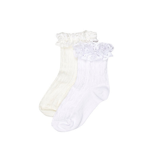 Mini girls white and cream frill 2 pack socks
