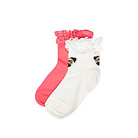 Mini girls pink and cream frill 2 pack socks