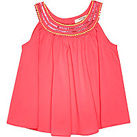 Mini girls pink embellished trapeze top