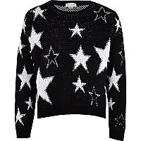 Girls black lurex star jumper