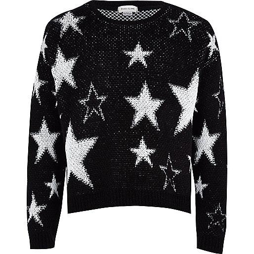 Girls black lurex star jumper