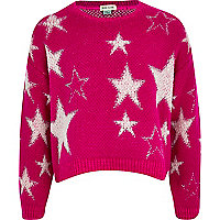 Girls pink star jumper