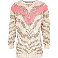 Girls pink metallic zebra jumper dress