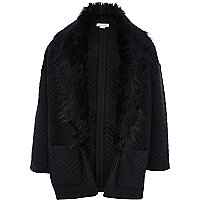Girls black zig zag textured fur trim blazer