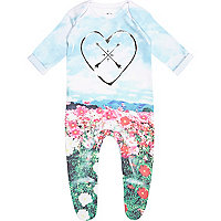 Mini girls blue meadow print sleepsuit