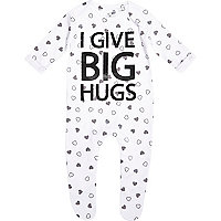 Mini girls white I love big hugs sleepsuit