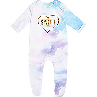 Mini girls white sweet dreams sleepsuit