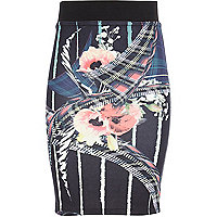 Girls black floral check tube skirt