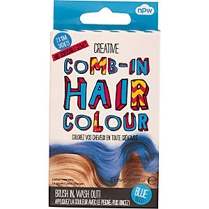 Girls blue comb-in hair color