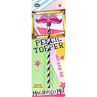 Girls pink glitter moustache pencil topper