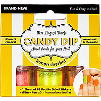 Girls yellow sherbet candy nail dip