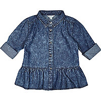 Mini girls acid wash denim peplum shirt