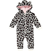 Mini girls cream leopard print fluffy onesie