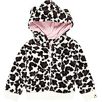 Mini girls cream leopard print fluffy hoody