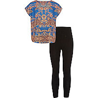 Girls blue baroque t-shirt and leggings set